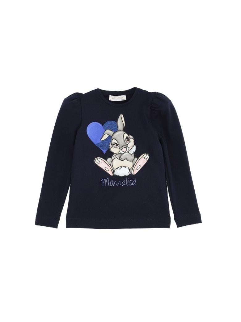 Monnalisa Shirt With Front Logo - Blu