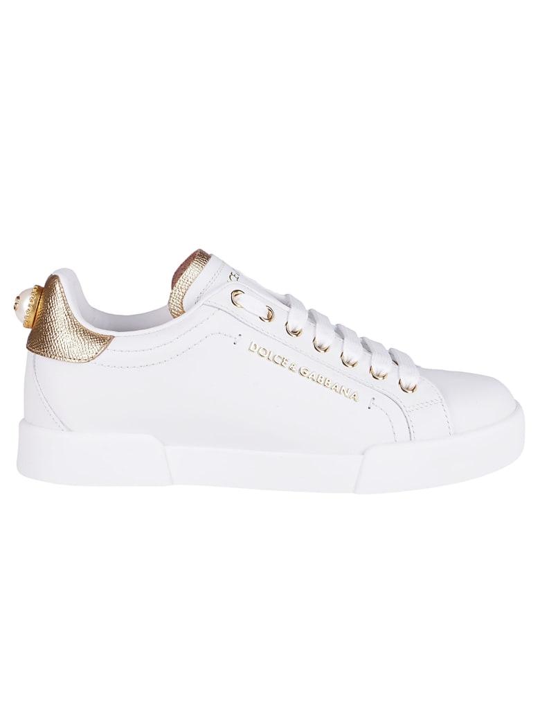 Dolce & Gabbana White Leather Portofino Sneakers - White black