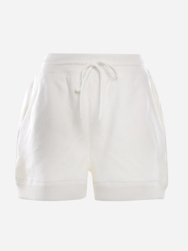 Miu Miu Cashmere Shorts With Logo Print - White