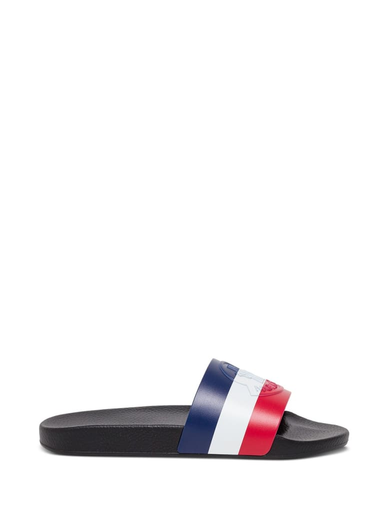 Moncler Rubber Slide Sandals With Logo - Nero