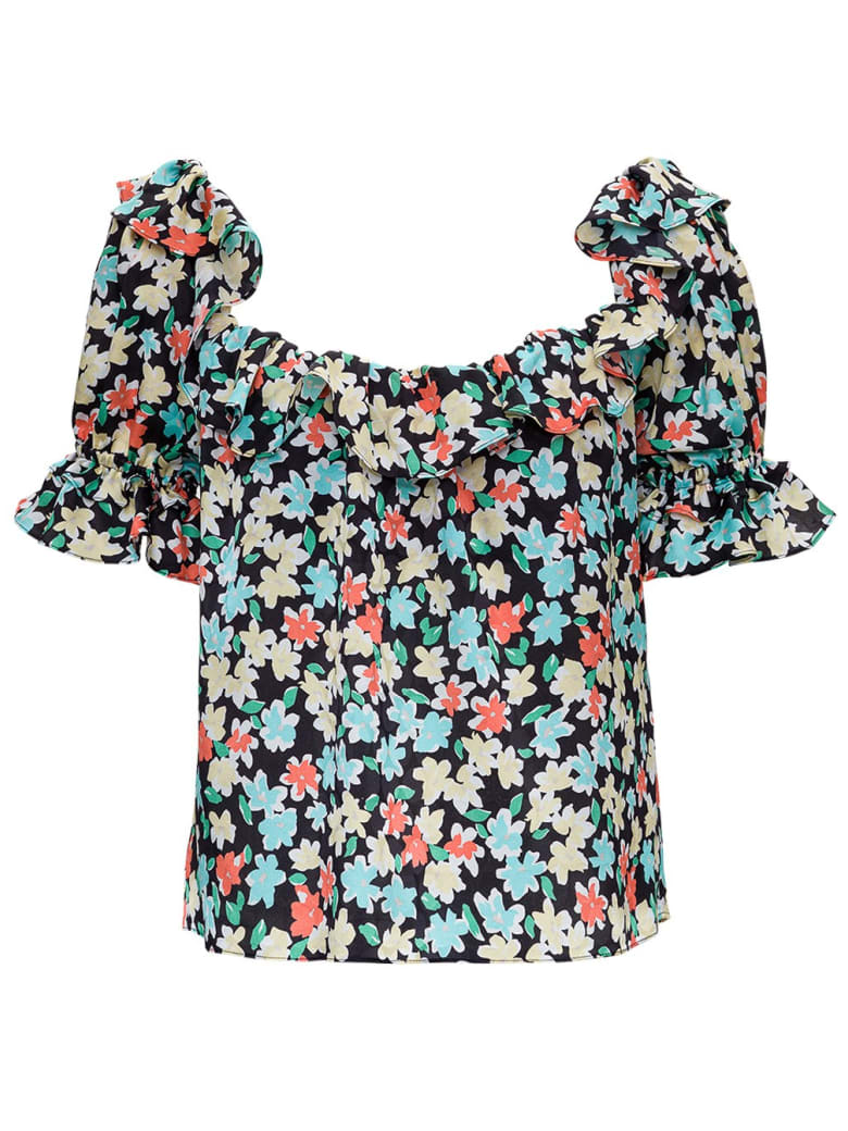 Saint Laurent Floral Silk Shirt With Ruffles Detail - Nero e Multicolore