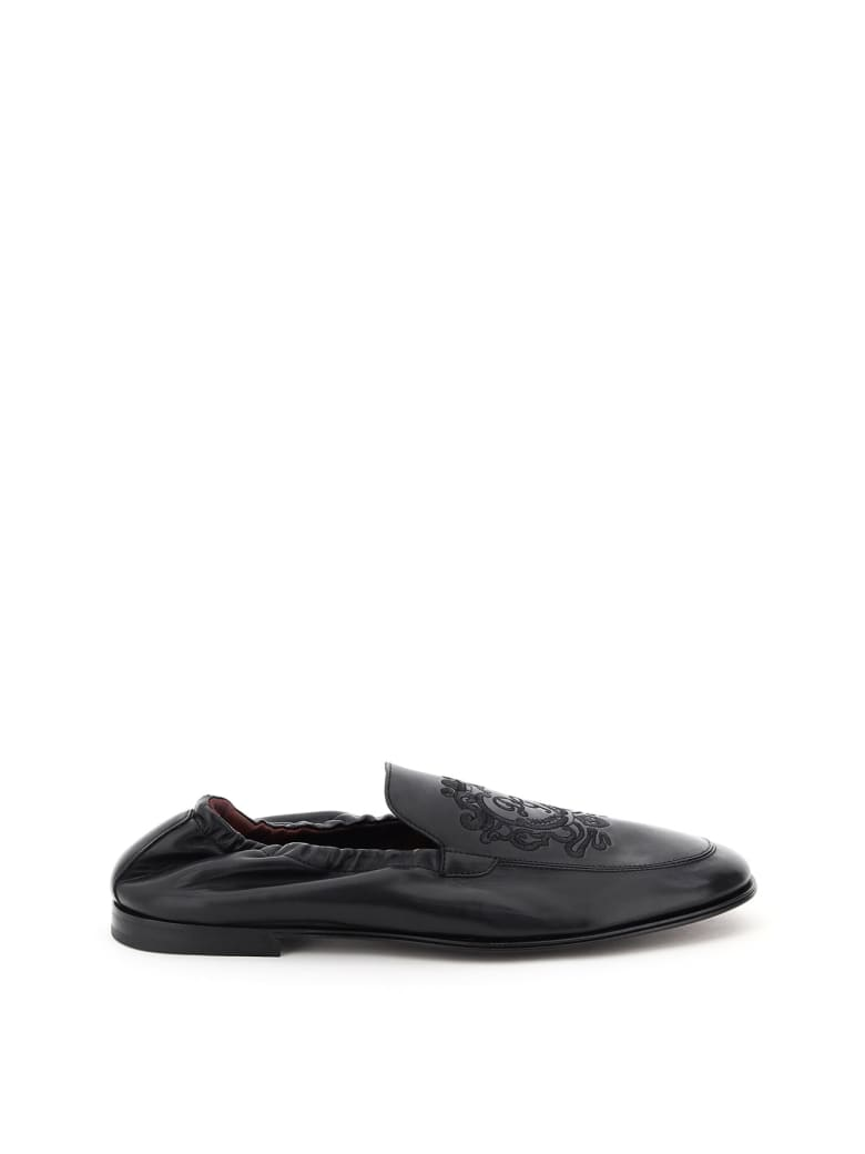 Dolce & Gabbana Ariosto Loafers With Coat Of Arms Embroidery - Nero