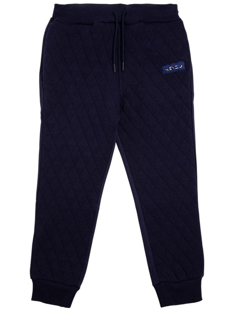 Kenzo Kids Blue Quilted Cotton Joggers With Logo - Blu