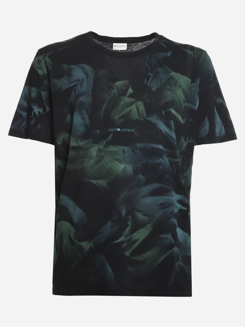 Saint Laurent Cotton T-shirt With All-over Tie-dye Print - Black, green