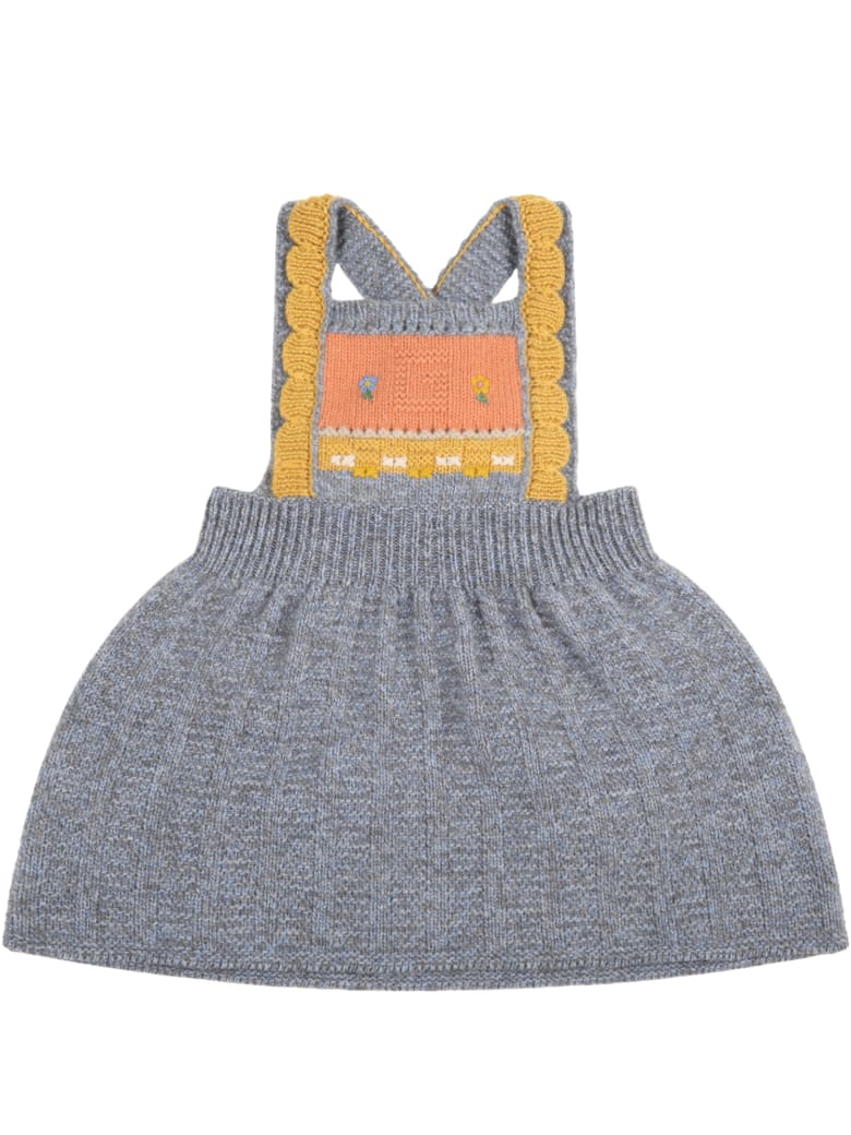 Gucci Gray Dress For Baby Girl With Logo - Multicolor