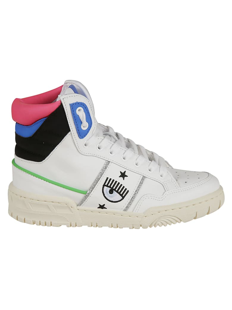 Chiara Ferragni Flirting Eye Logo High Sneakers - White/Blue