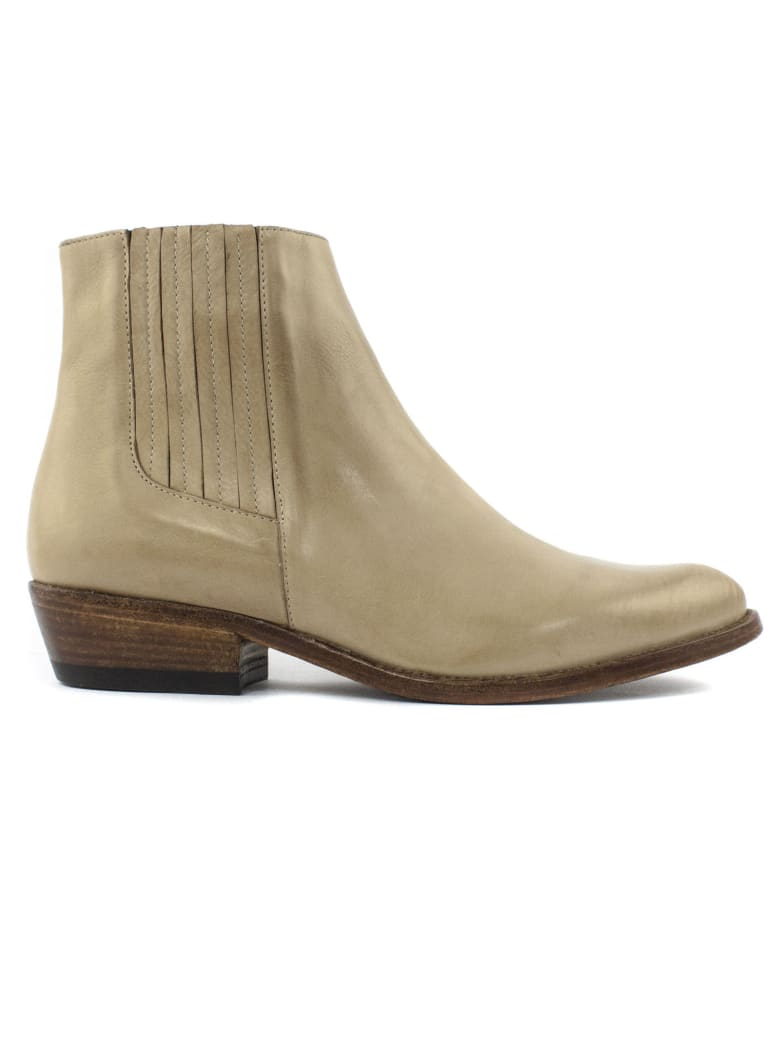 Duccio del Duca Ecru Leather Ankle Boot - Ecru