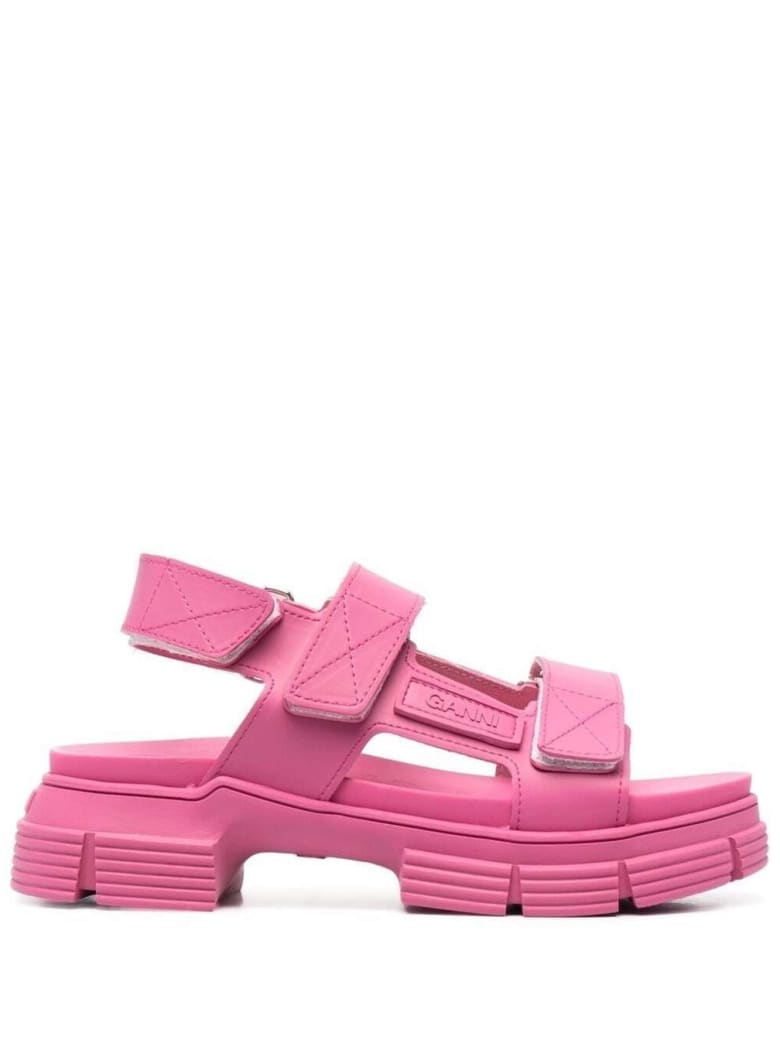 Ganni Pink Recycled Rubber Sandals - Pink