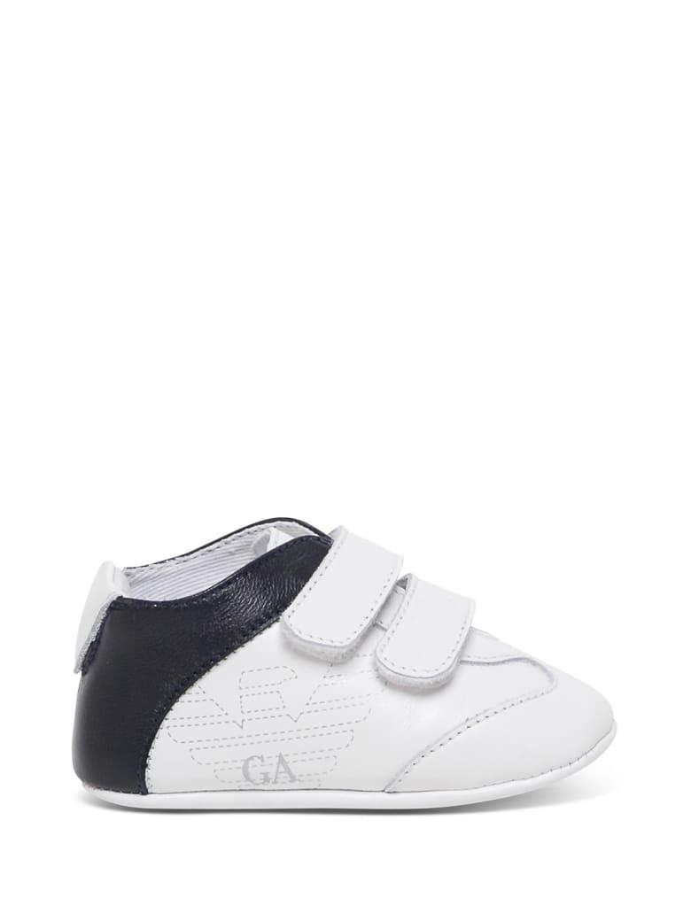 Emporio Armani Cradle Sneakers In White And Blue Leather - White