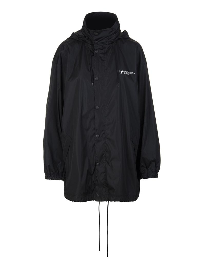 Balenciaga Woman Black Wide Line Corporate Windbreaker - Black