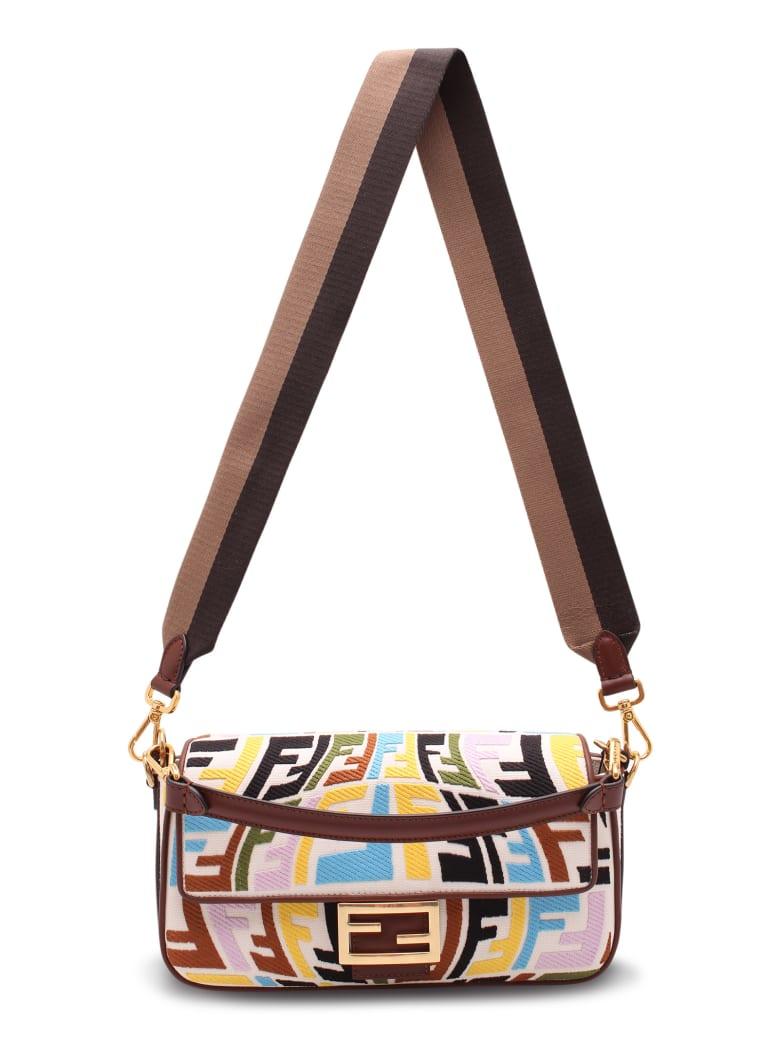Fendi Cotton 'baguette Ff' Multicolor Shoulder Bag - Multicolor