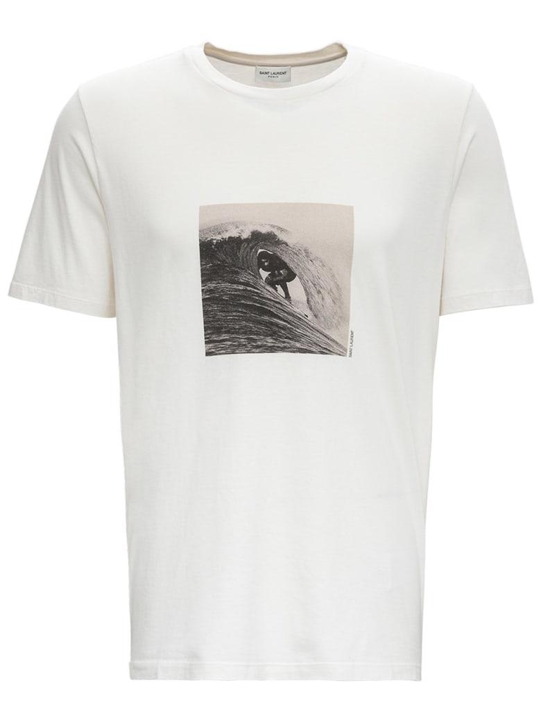 Saint Laurent Surfer Print Cotton T-shirt - Ecru