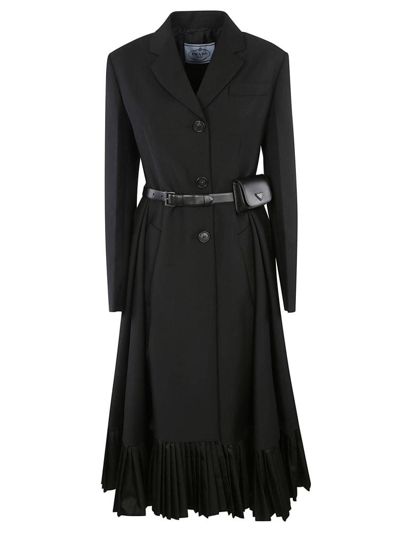 Prada Pouch Applique Belted Flared Dress - Black