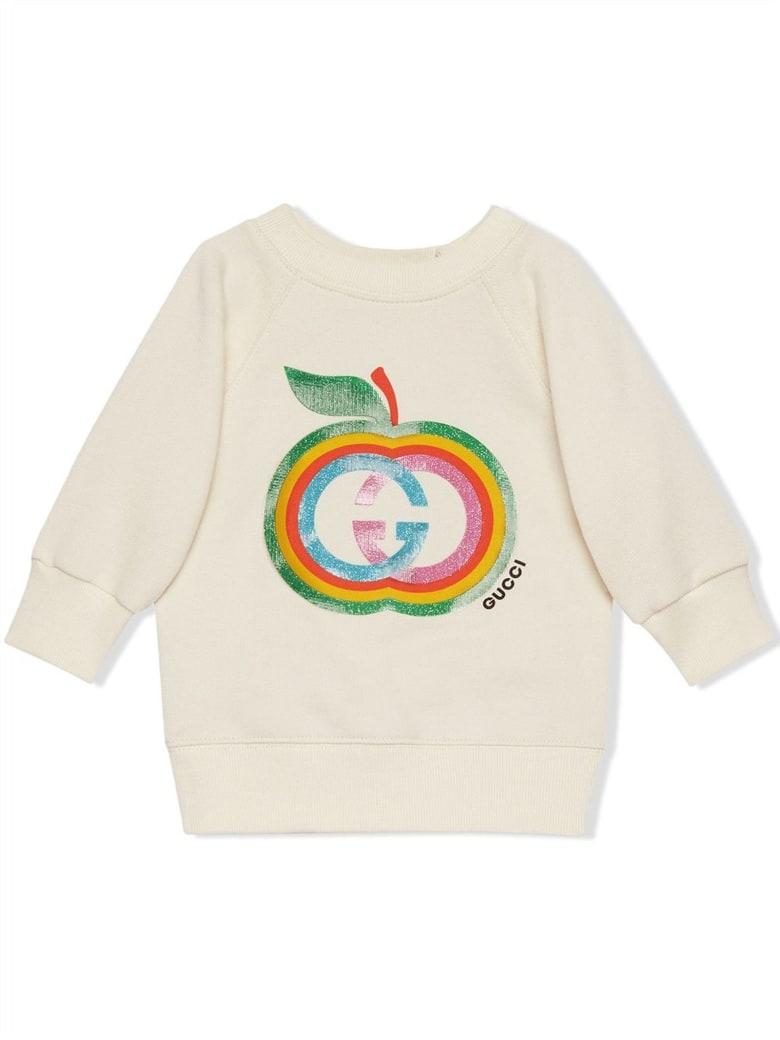 Gucci Baby Cotton Sweatshirt With Apple - Panna