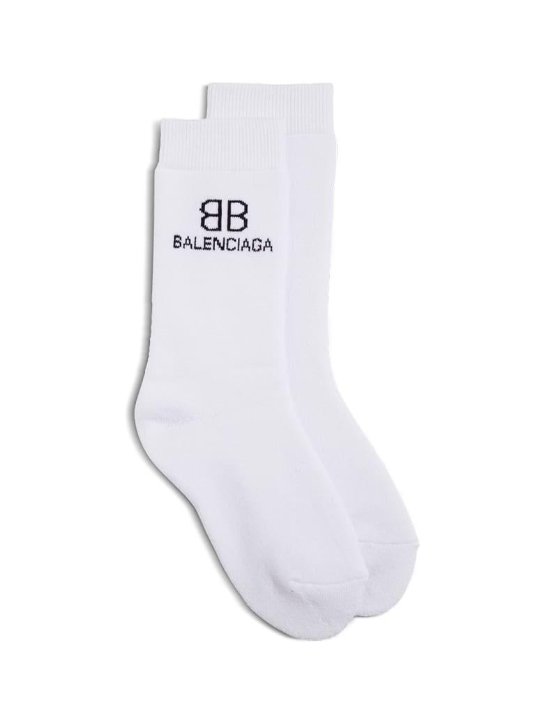 Balenciaga Cotton Socks With Contrasting Logo - White