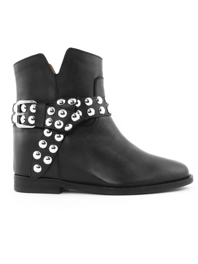 Via Roma 15 Black Leather Ankle Boot - Nero