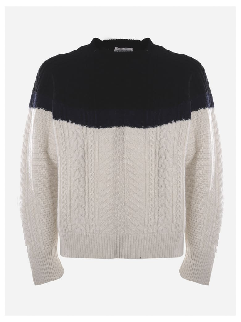 Alexander McQueen Cable Knit Wool And Cashmere Sweater - White, black
