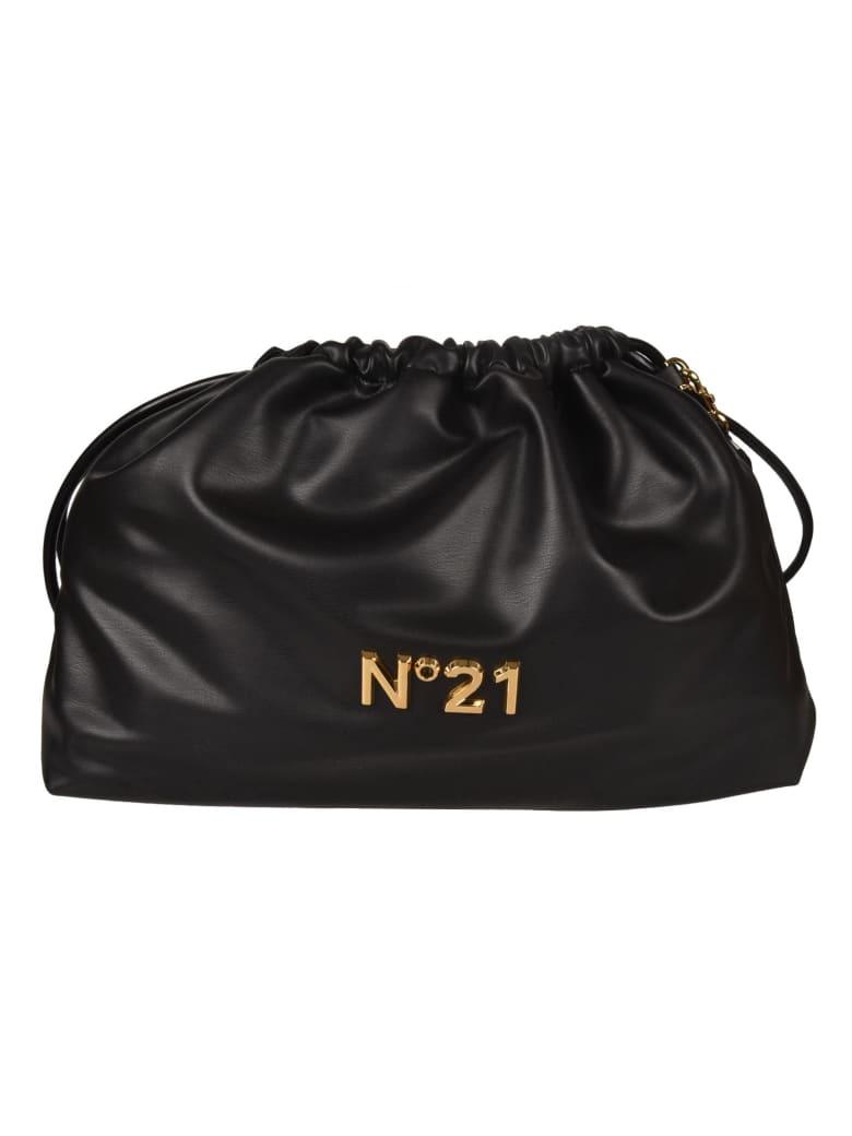 N.21 Logo Plaque Drawstring Bucket Bag - Nera