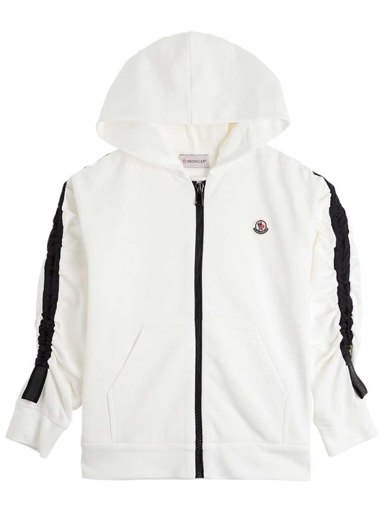 Moncler Black And White Jersey Hoodie With Logo - White