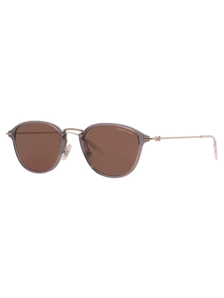 Montblanc MB0155S Sunglasses - Grey Silver Brown