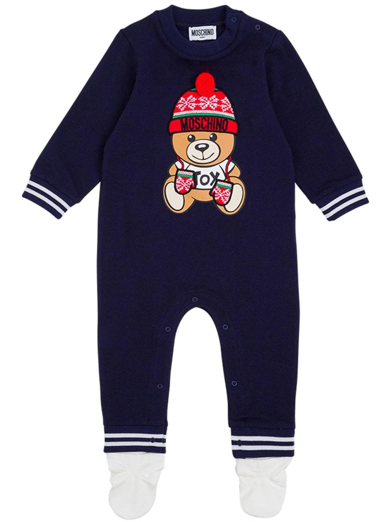 Moschino Blue Cotton Onesie With Teddy Bear Print - Blu