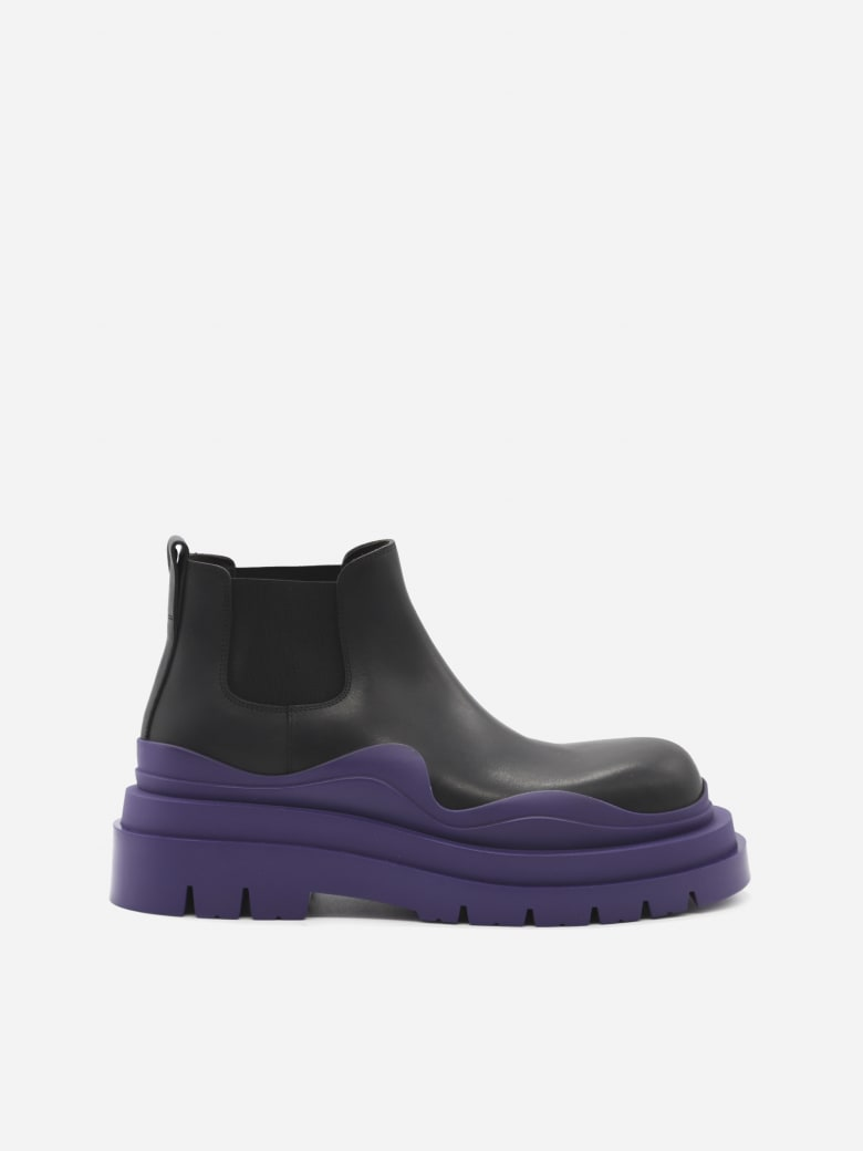 Bottega Veneta Tire Leather Ankle Boots - Black