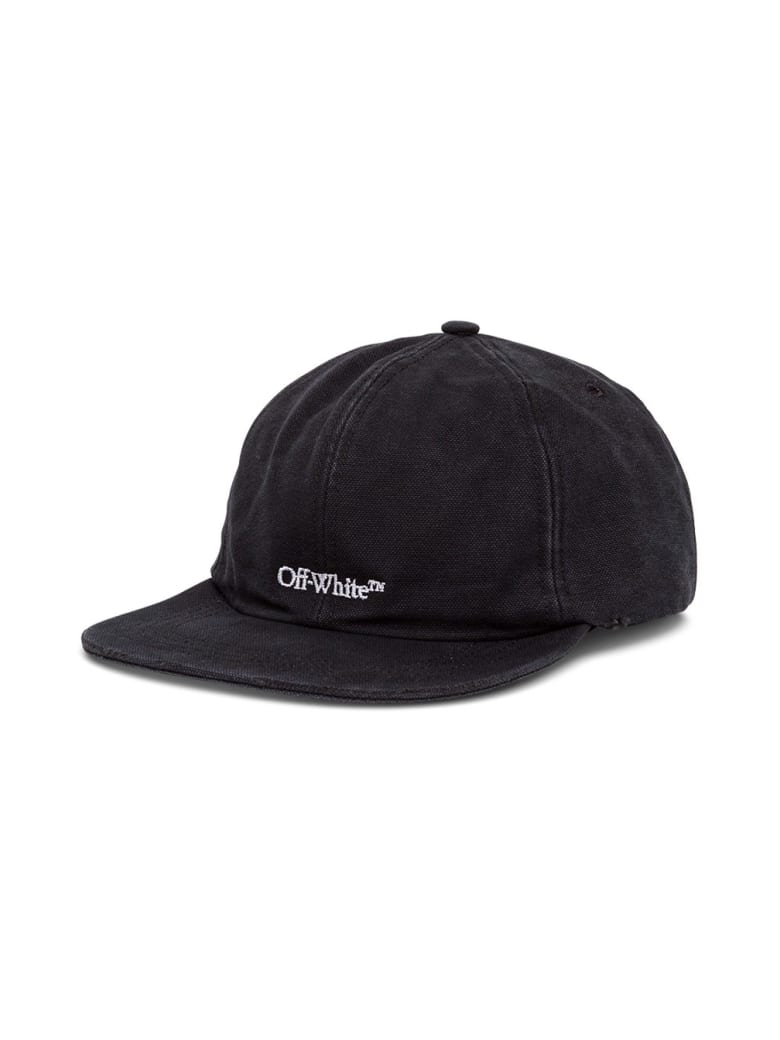 Off-White Cotton Hat With Logo Embroidery - Black