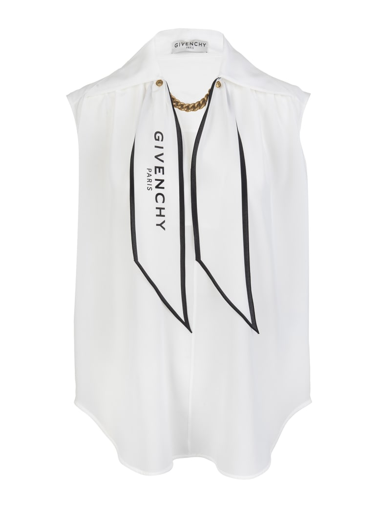 Givenchy White Silk Top With Chain And Logo Scarf - Bianco
