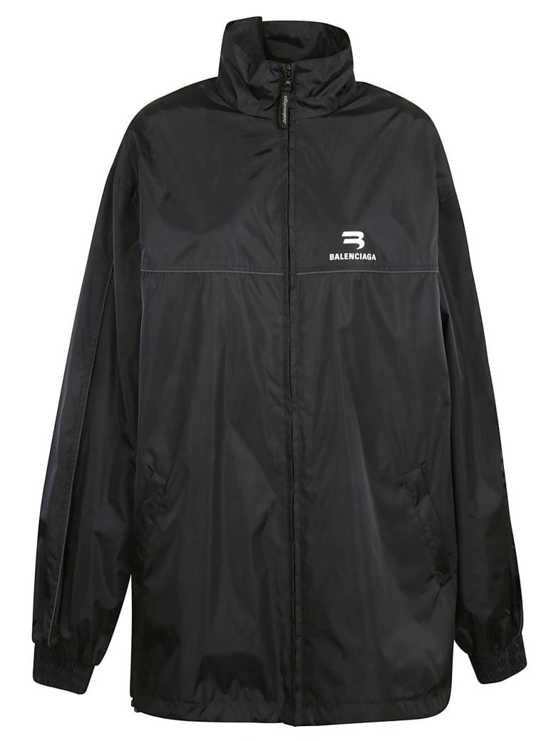Balenciaga Oversize Chest Logo Raincoat - Black