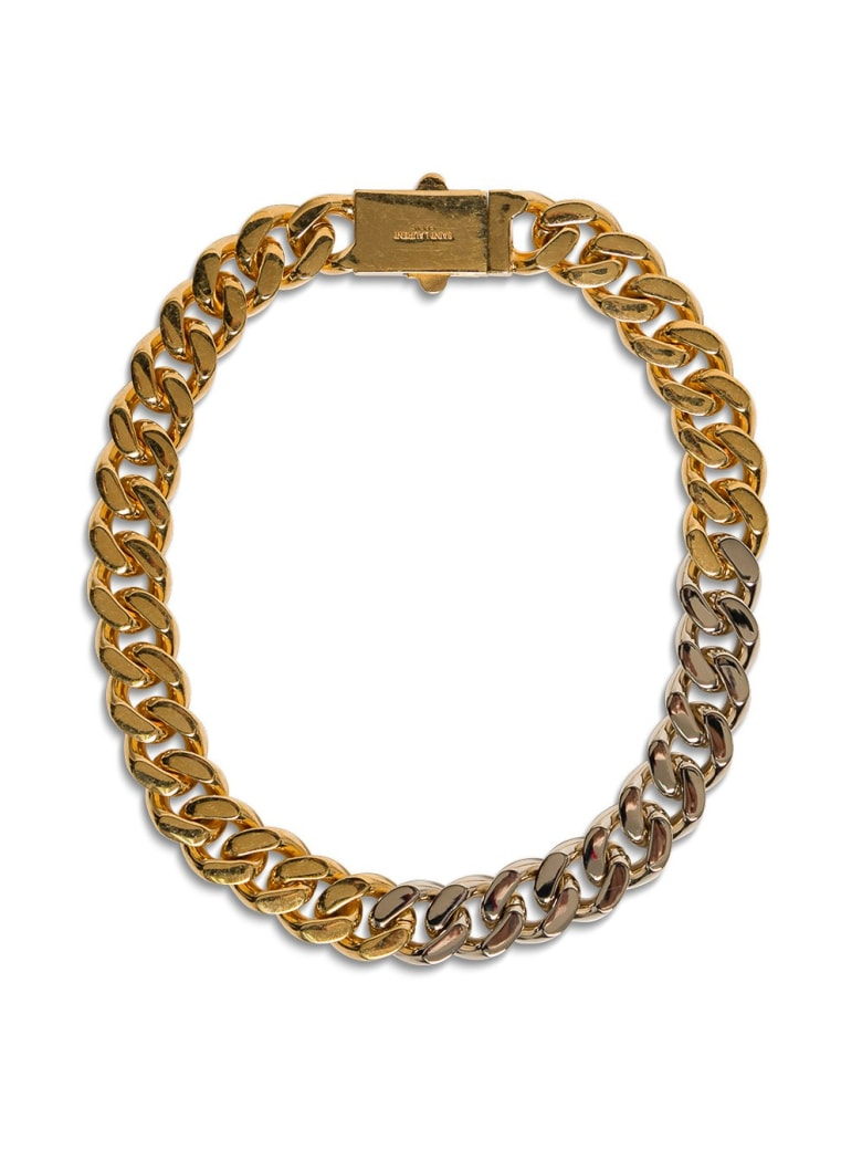 Saint Laurent Chain Necklace In Golden And Silver Plated Brass - Metallic