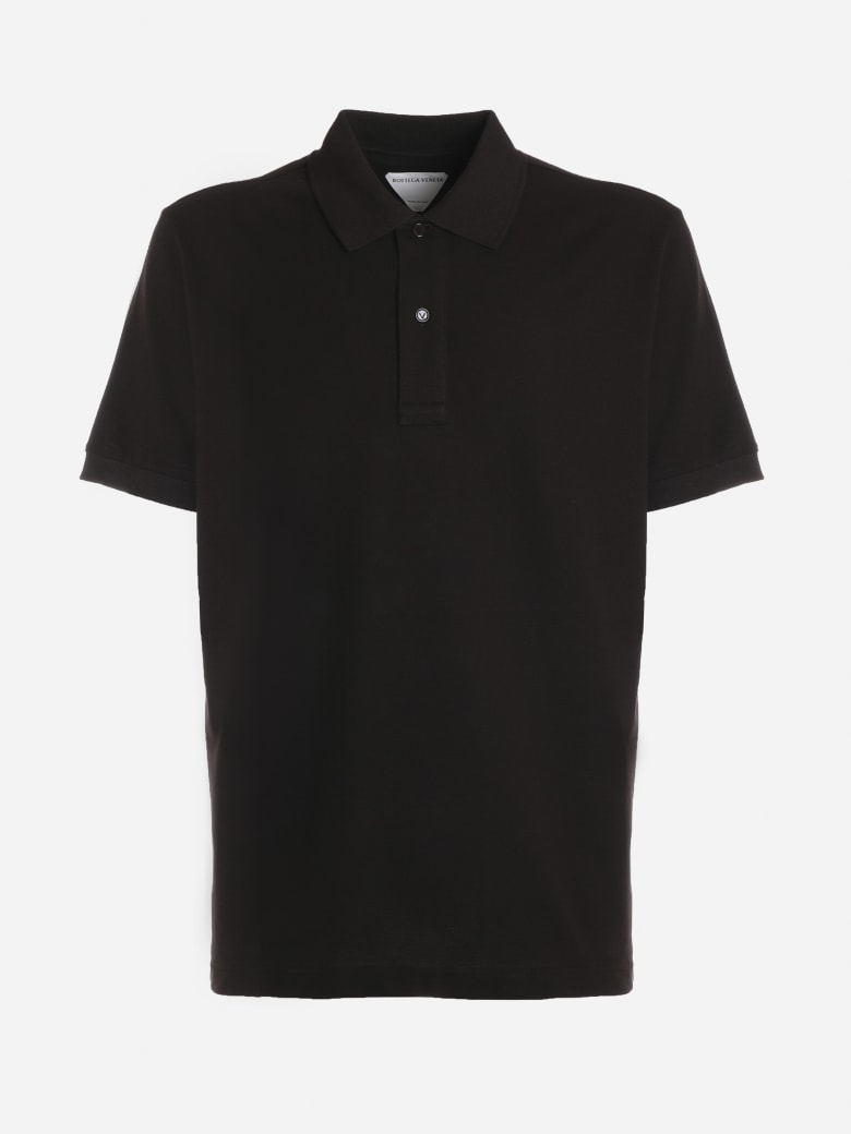 Bottega Veneta Short-sleeved Cotton Polo Shirt - Dark brown