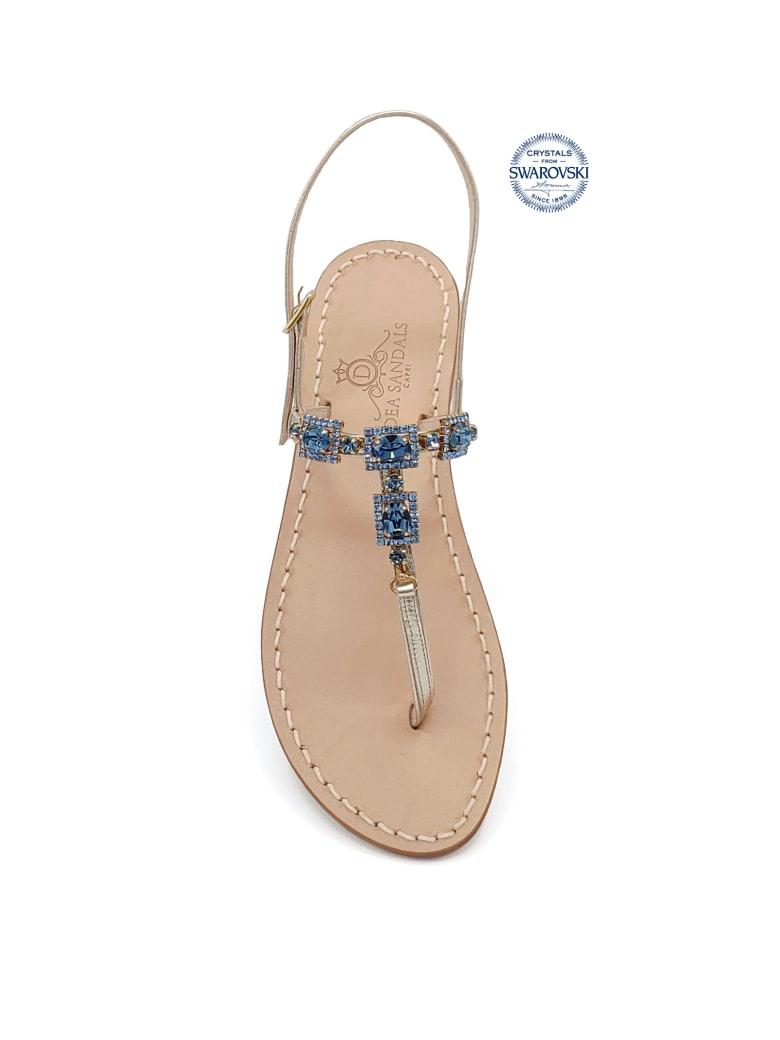 Dea Sandals Villa Orlandi Jewel Thong Sandals - gold, blue