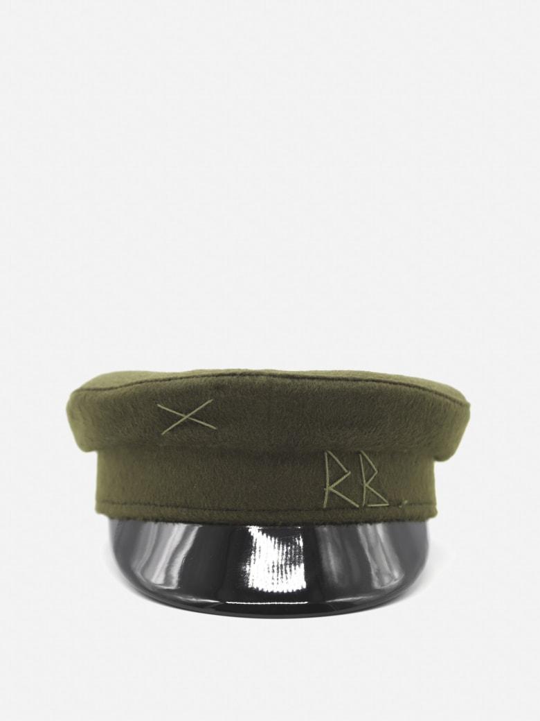 Ruslan Baginskiy Wool Baker Boy Hat With Embroidered Logo - Green, black