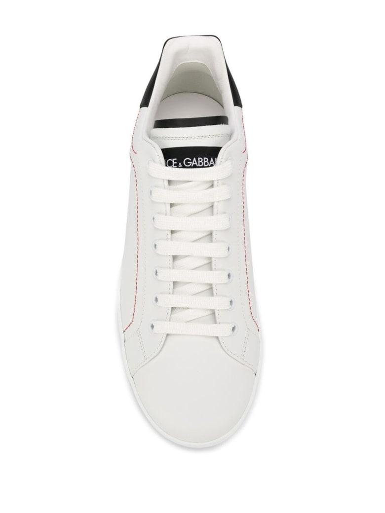 Dolce & Gabbana White And Black Portofino Leather Sneakers - White