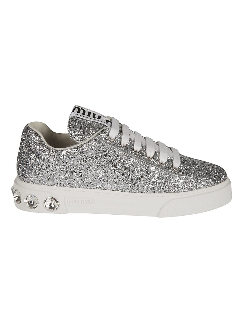 Miu Miu Glitter Sneakers - Argento