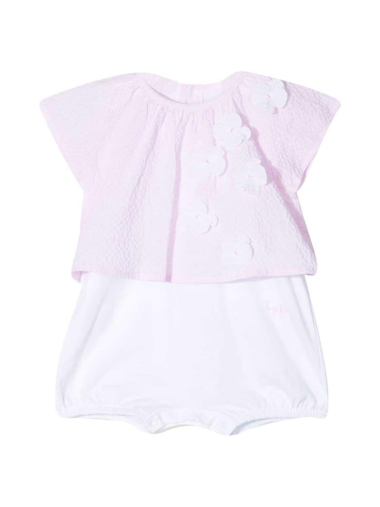 Il Gufo Flowered Onesie - Bianco/rosa