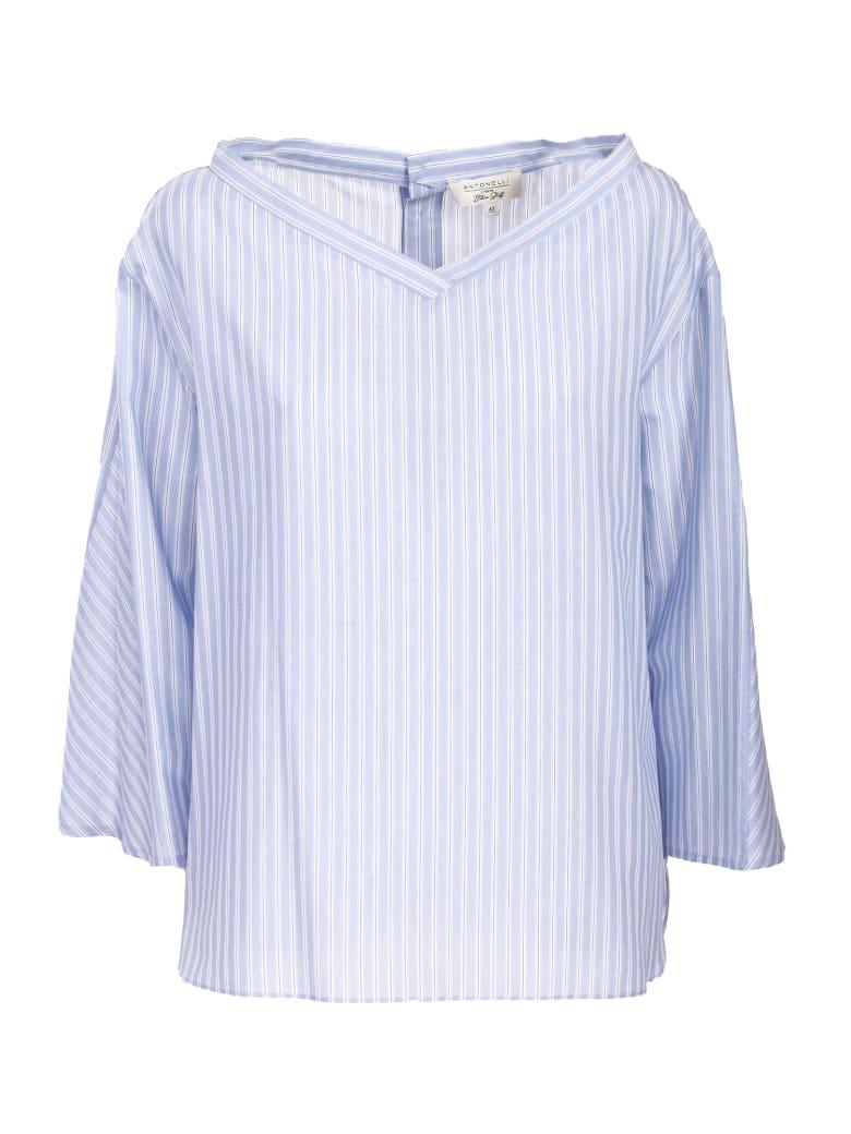 Antonelli white and light blue striped cotton shirt - Righe
