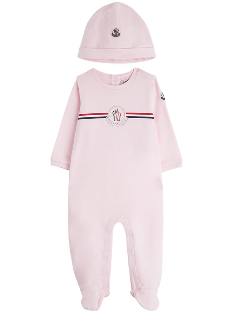 Moncler Onesie And Hat Suit  In Pink Jersey - Pink