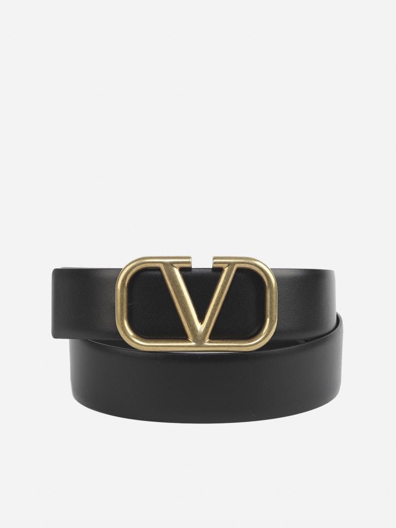 Valentino Garavani Black Leather V Logo Belt - Black