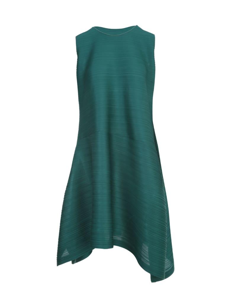 Pleats Please Issey Miyake Vein Sleeveless Midi Dress - Verde