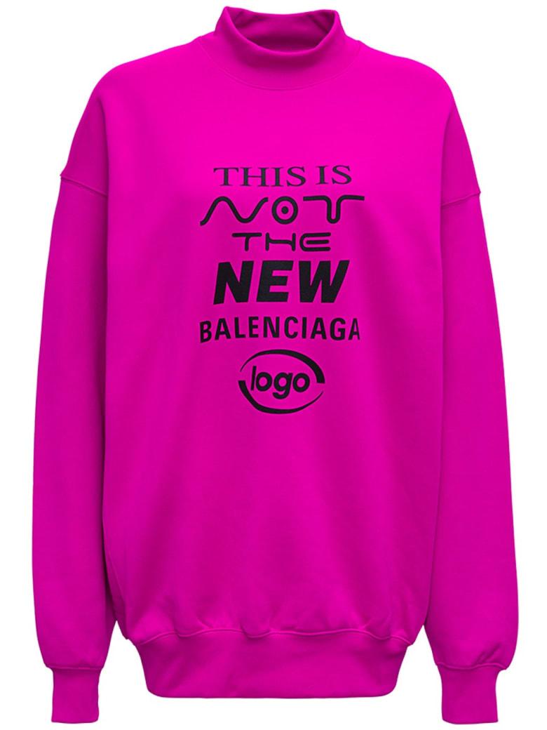 Balenciaga Pink Cotton Sweatshirt With Print - Fuxia