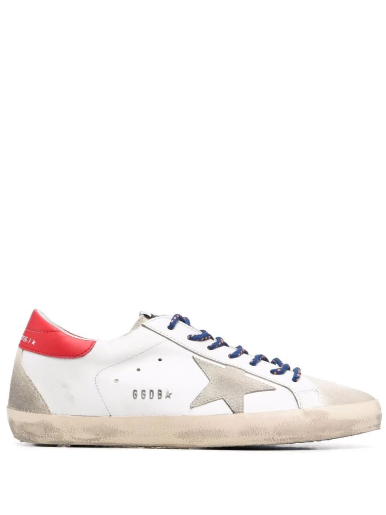 Golden Goose Man White Super-star Sneakers With Red Spoiler And Two-tone Laces