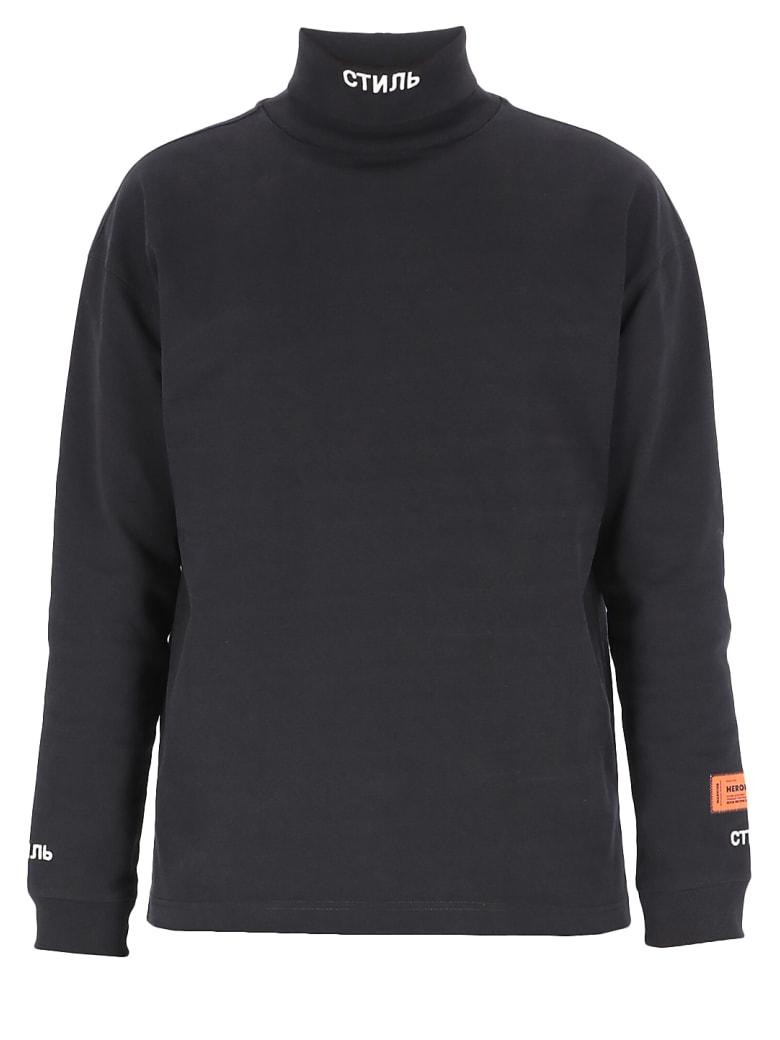 HERON PRESTON Logo Sweatshirt - BLACK WHITE