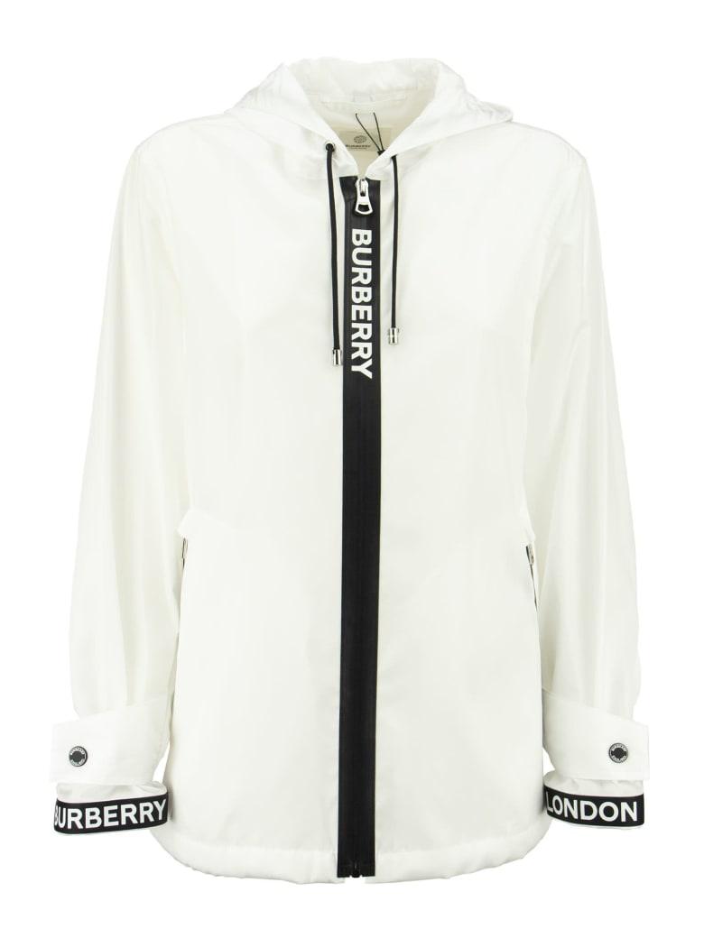 Burberry Everton - Logo Tape Econyl® Hooded Jacket - Optic White