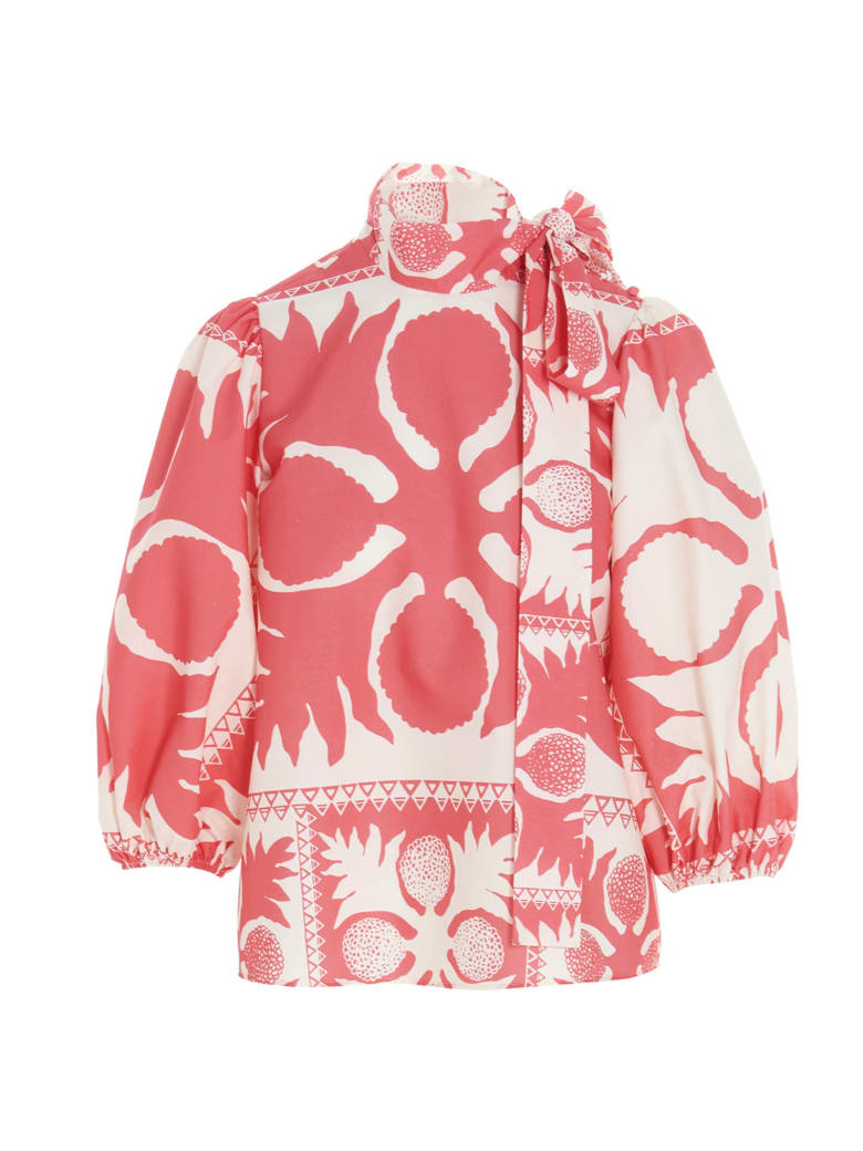 RED Valentino 'flower Damier' Blouse - Pink