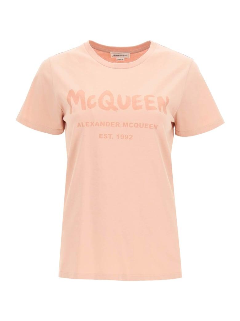 Alexander McQueen Graffiti Logo T-shirt - Rosa
