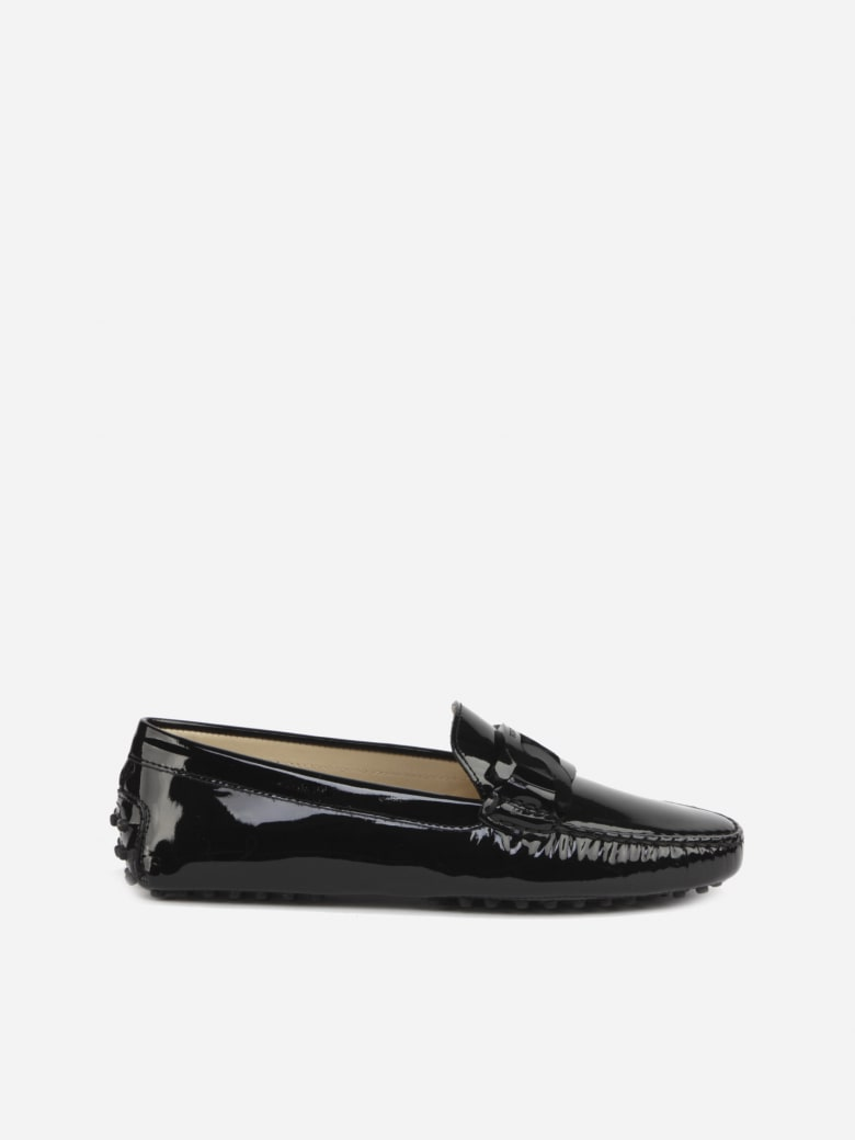 Tod's Gommino Moccasins In Patent-effect Leather - Black
