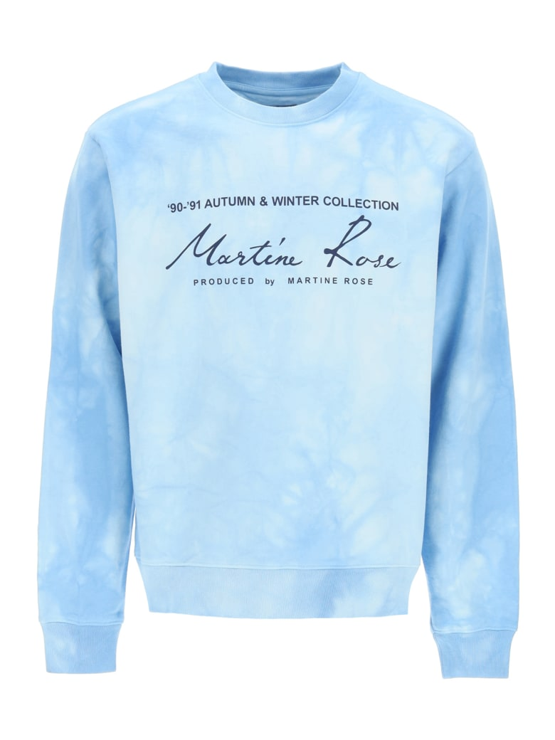 Martine Rose Tie-dye Crewneck Sweatshirt With Logo - LIGHT BLUE (Light blue)