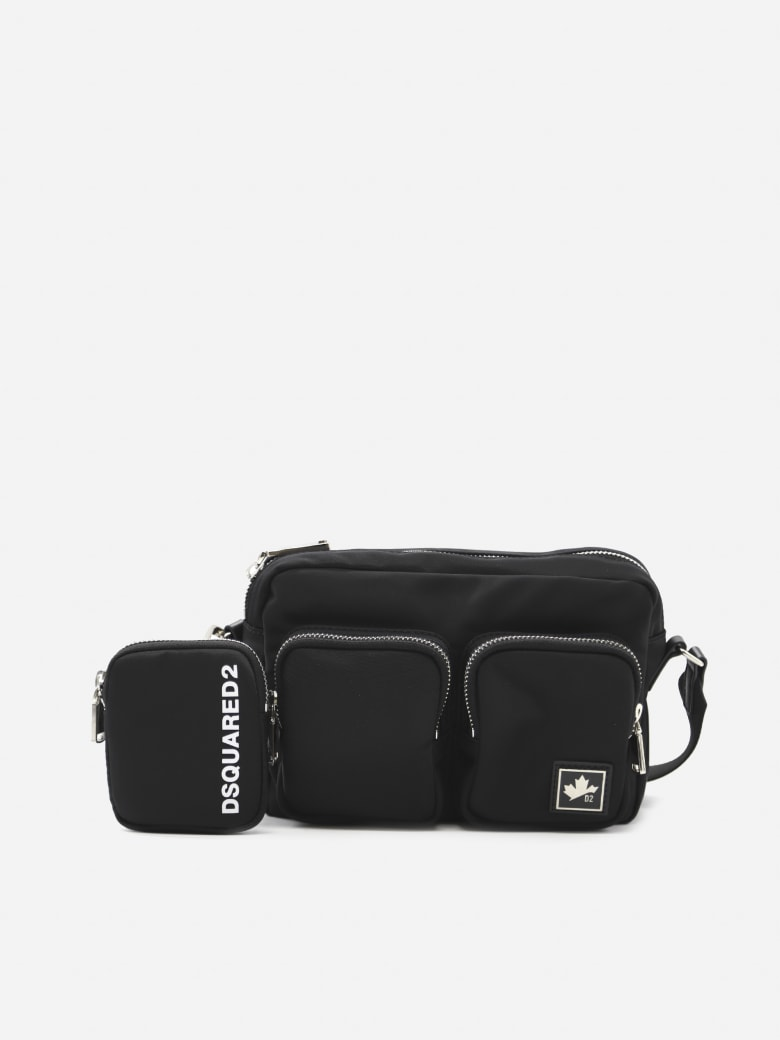 Dsquared2 Nylon Pouch With Contrasting Logo Print - Black