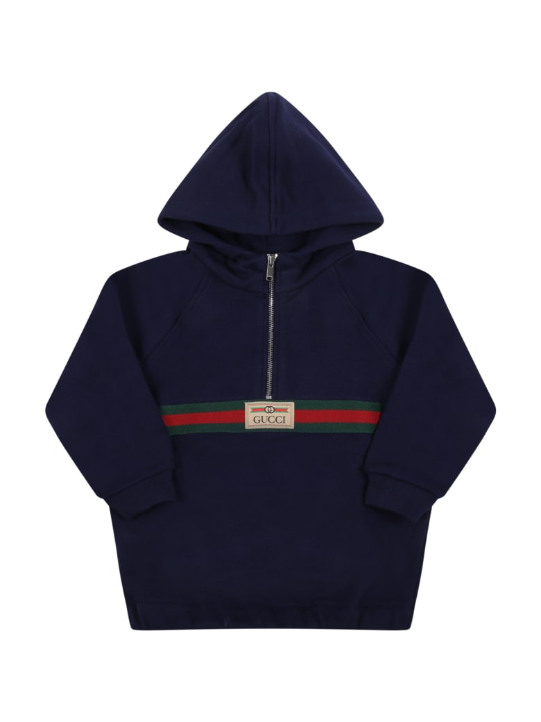 Gucci Bluw Sweatshirt For Baby Boy With Web Detail - Blue